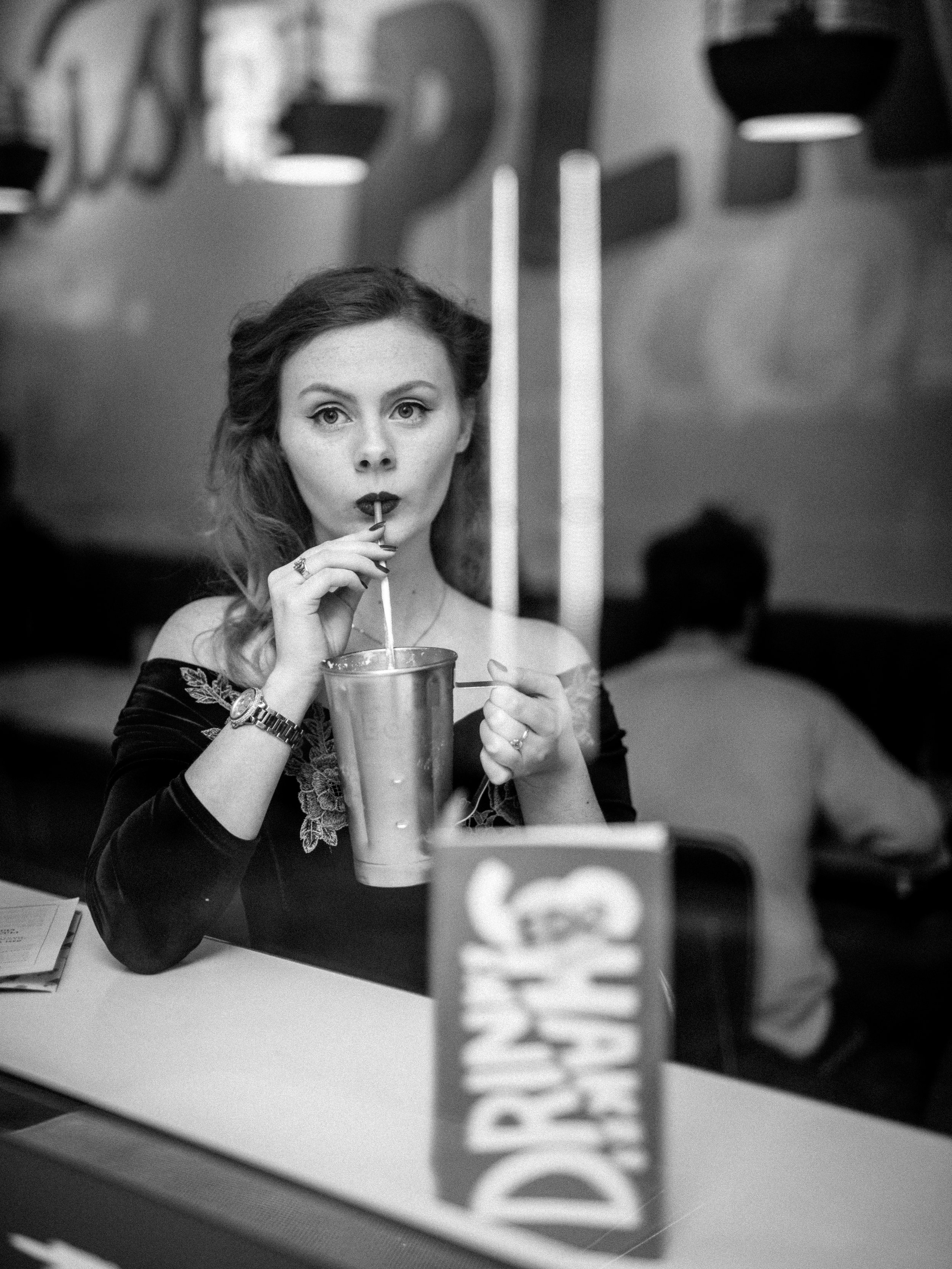 1950s Diner Portrait Window Reflections Black and White