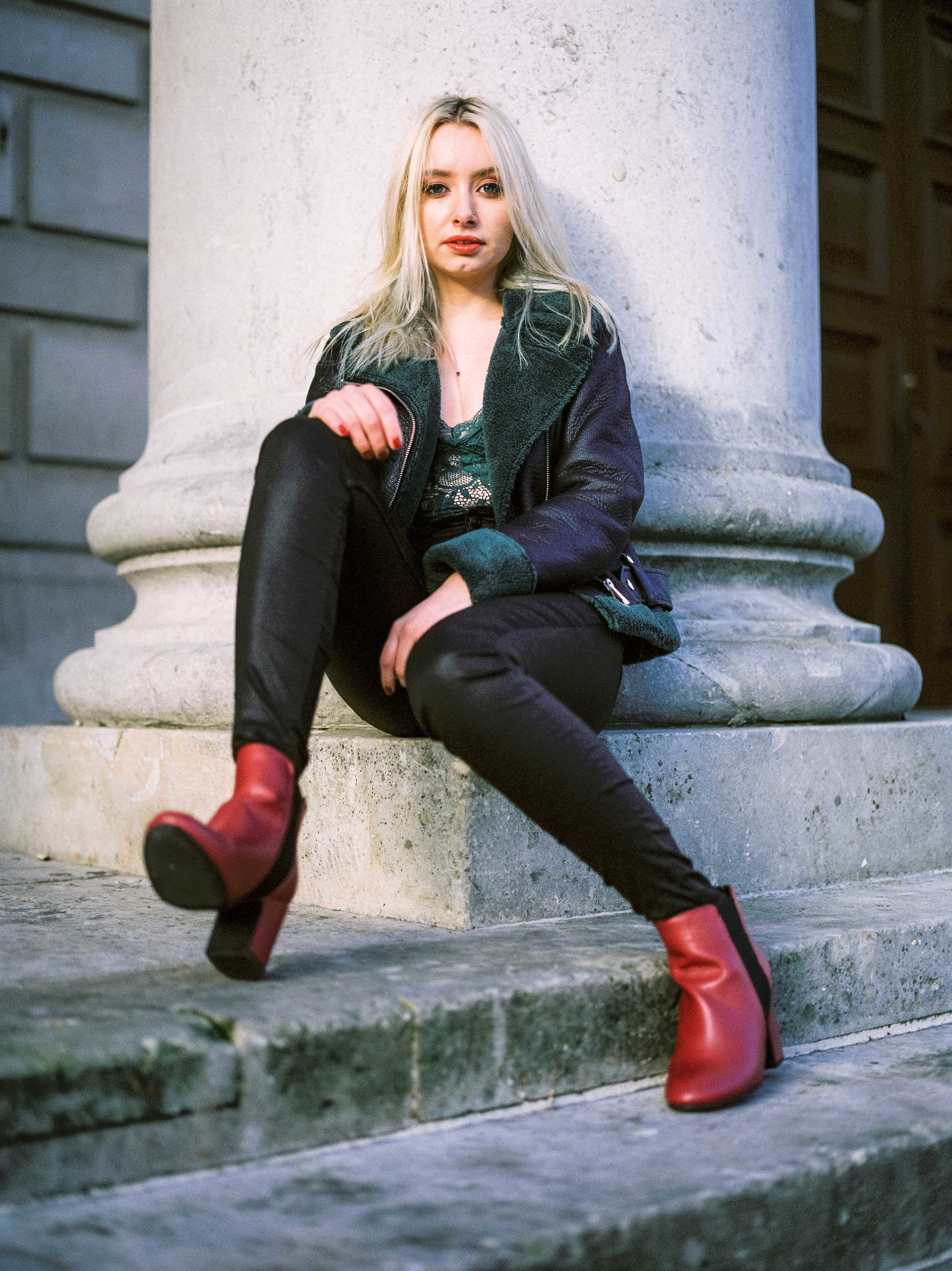 Red Boots, Leather Leggings