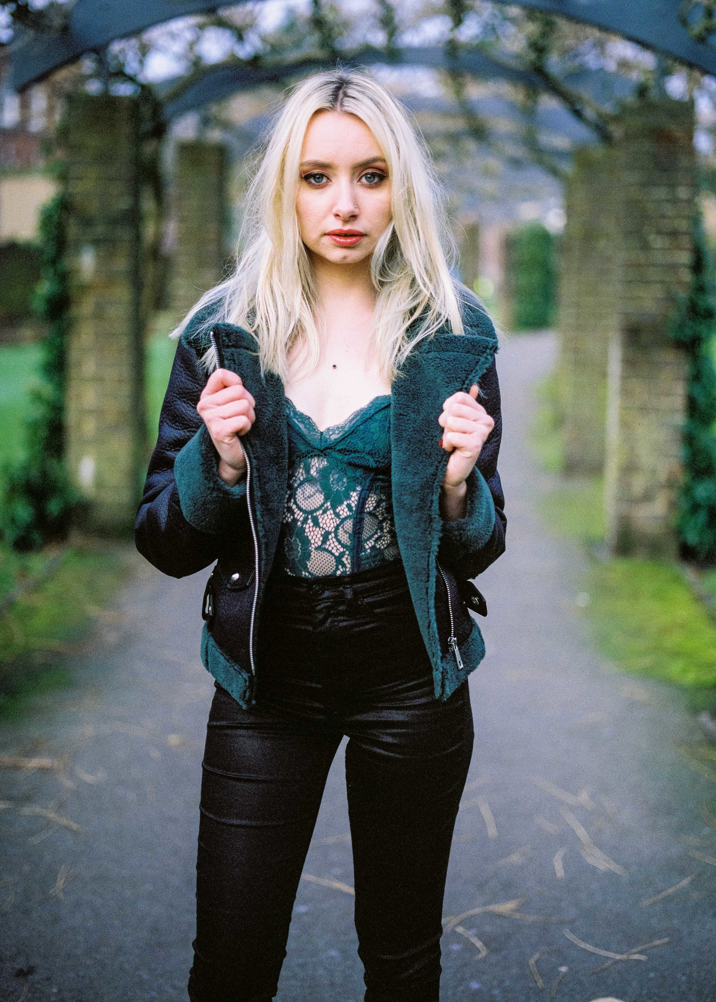 Lace Bodysuit and Leather Trousers