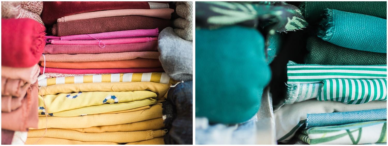 textiles couleurs chaudes et froides