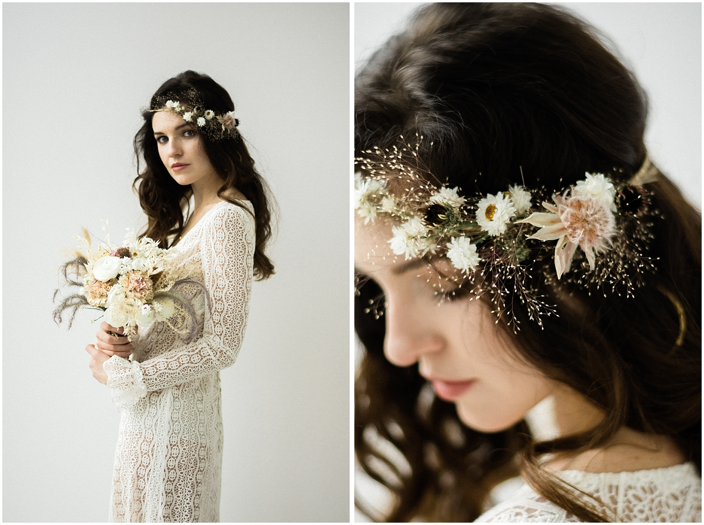 Bride wears a flower head crown Paris