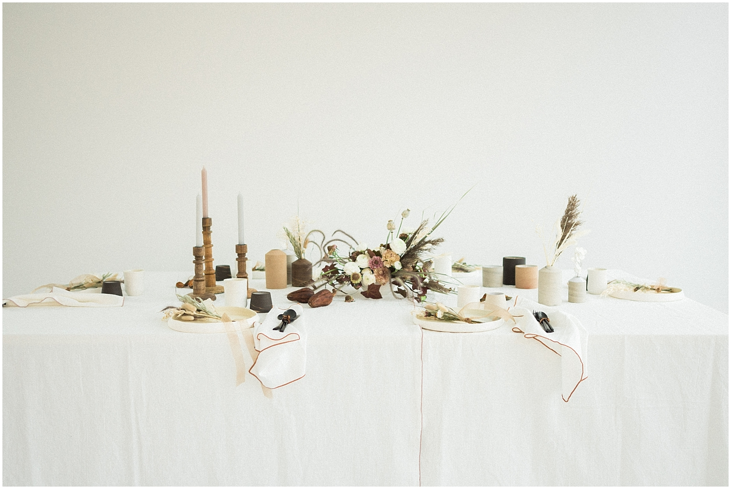 overall table set up for a bohemian wedding inspiration