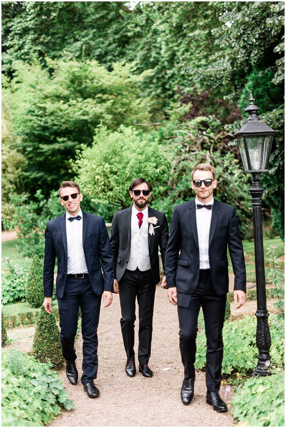 Classy groom and best men at domaine du poudrier Limoges