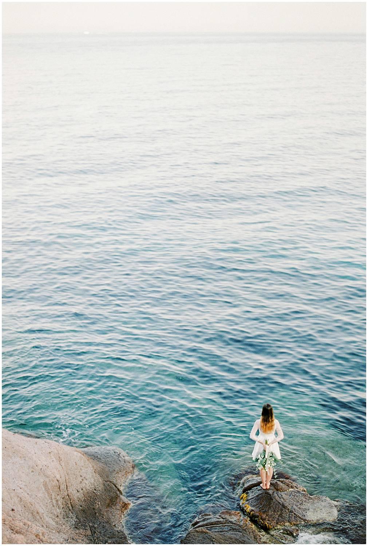 Bride facing the Mediterranean sea french riviera provence