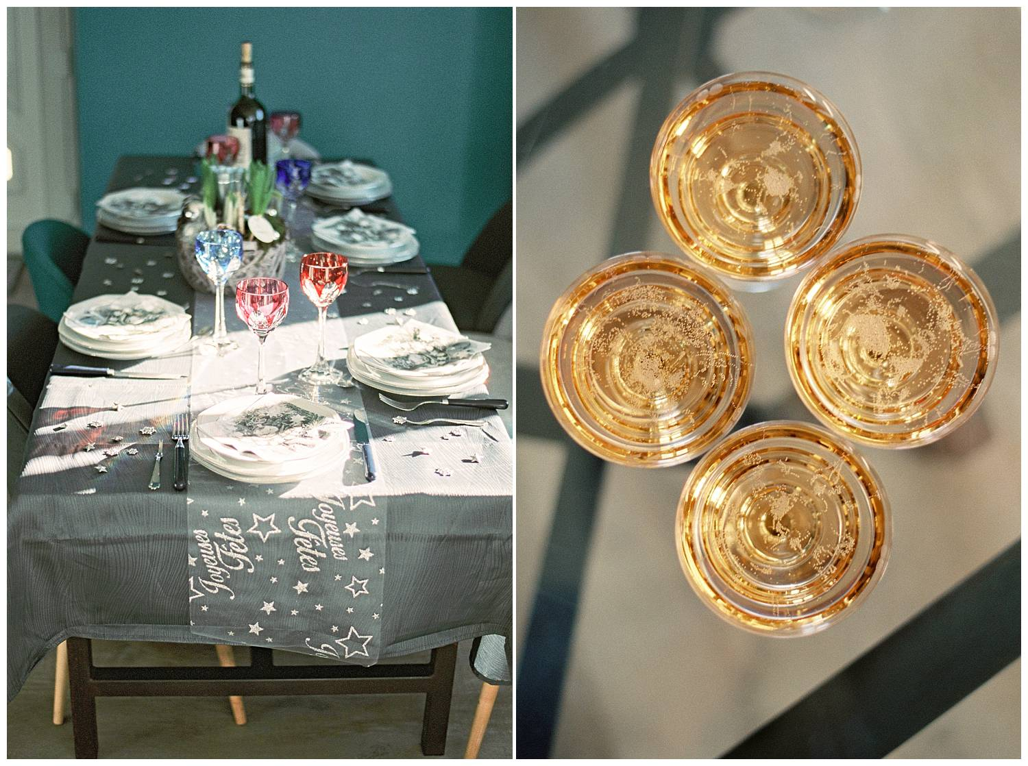 Christmas table inspiration and some glasses of Champagne