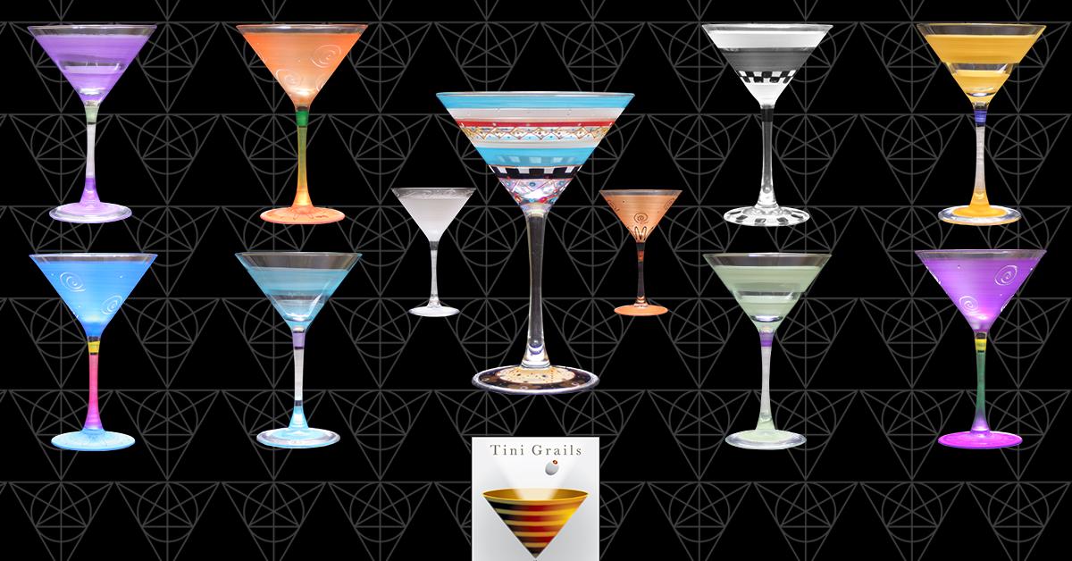 Tini Grails  martini glasses, where a great martini is all in the glass.