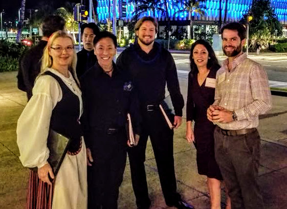 The Karolers gathering in front of Tango Restaurant with Maarit. Bonus – we ran into the Hoovers!