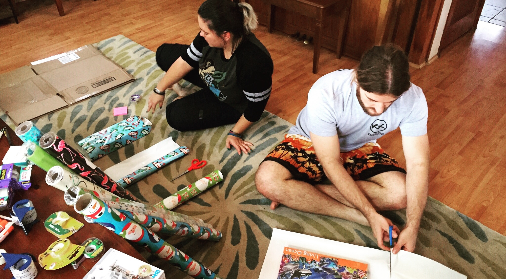 Carlyn and Karol's relationship with wrapping paper will never be the same again.