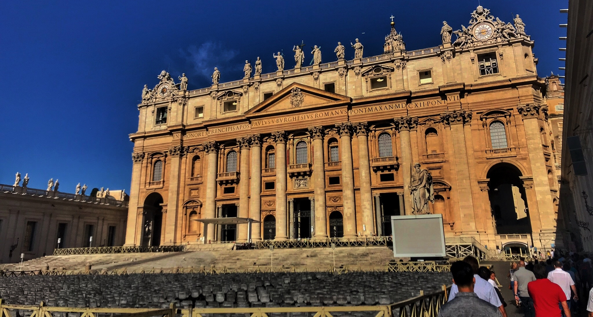 Front view of the St. Peter's Basilica.
