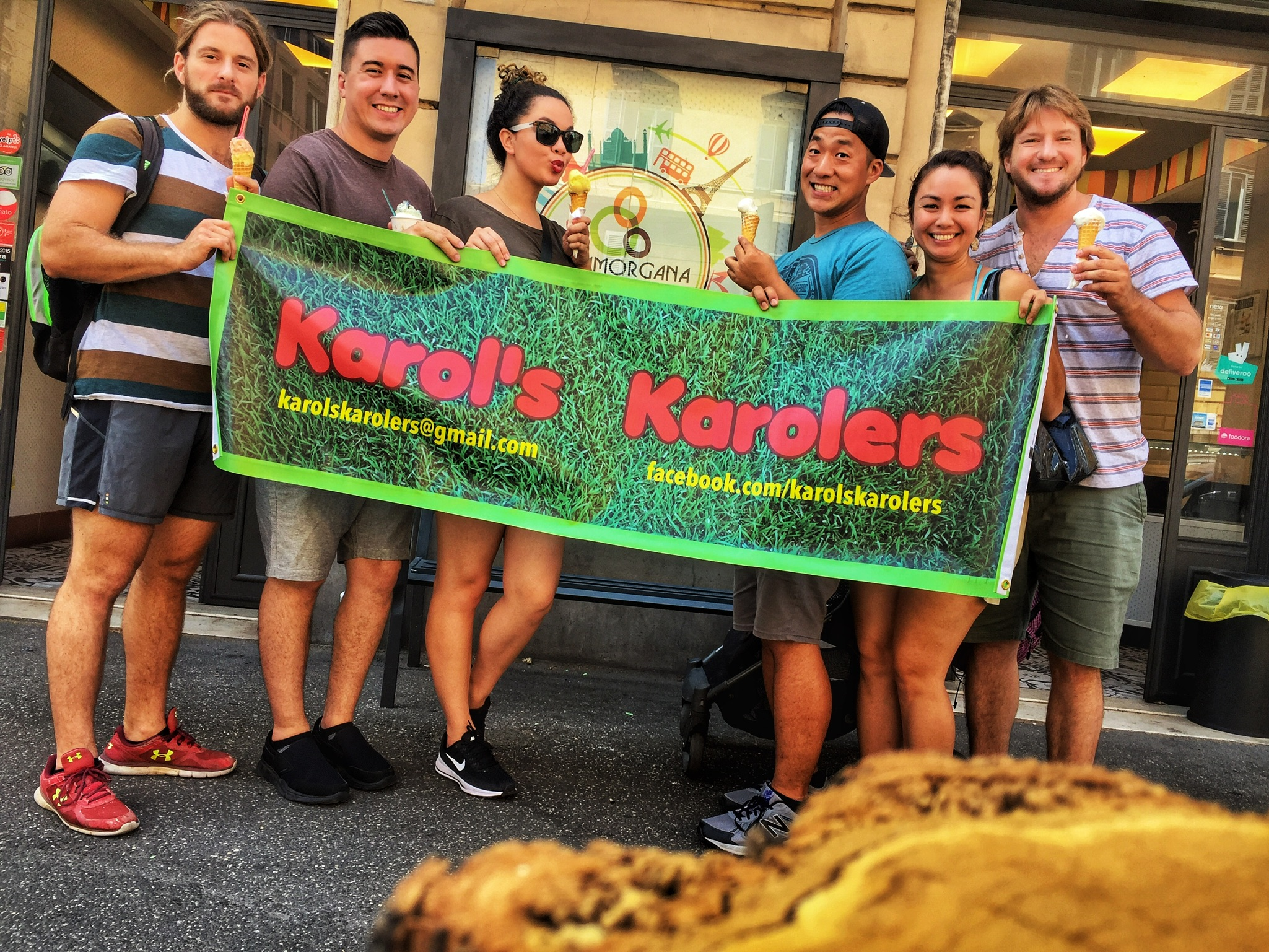 Is this real or is it a FATA MORGANA? The Karolers are enjoying gelato in Rome!