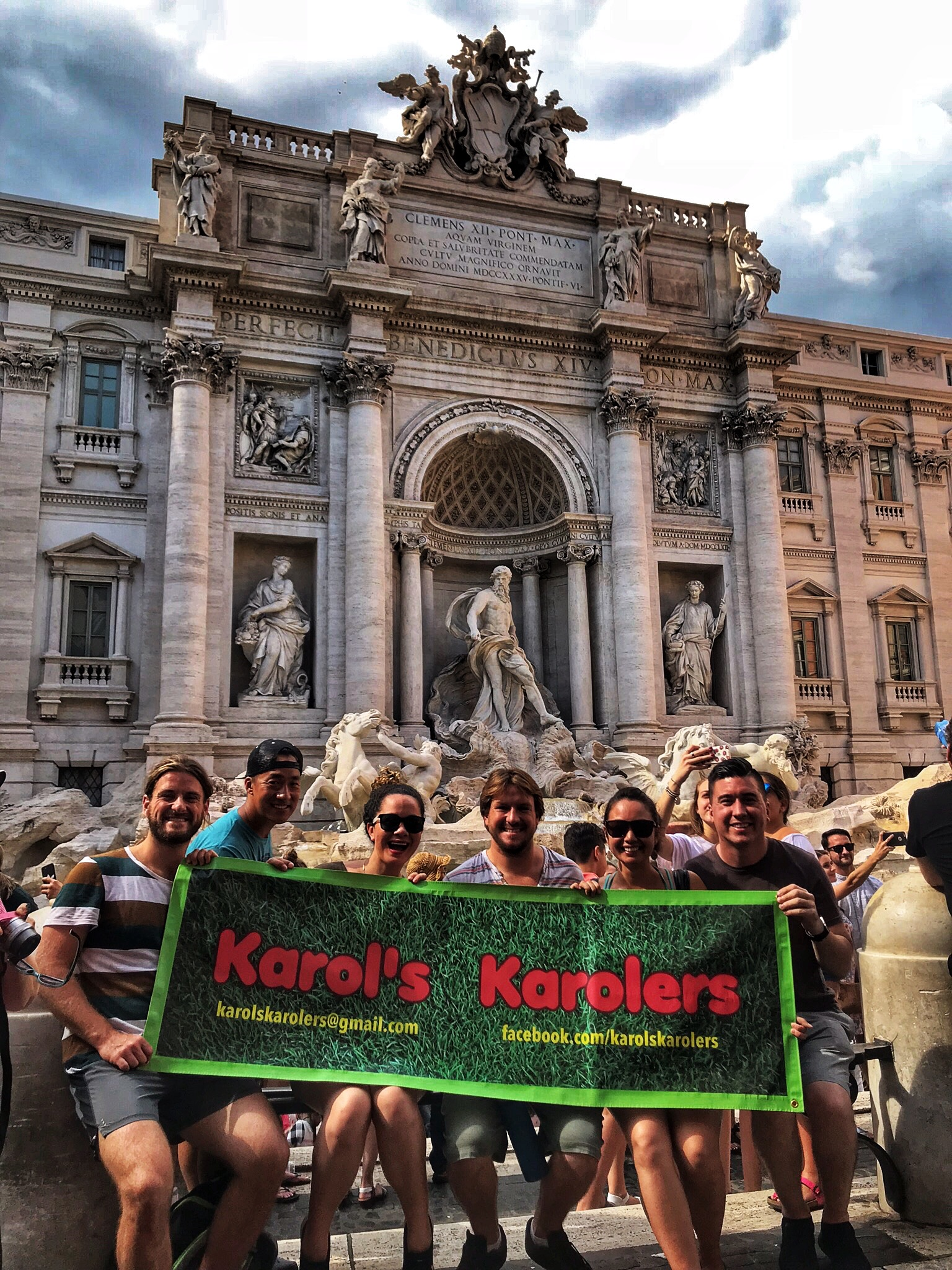 The Trevi fountain, behind us. Keane tossed in a coin, I guess we will come back!