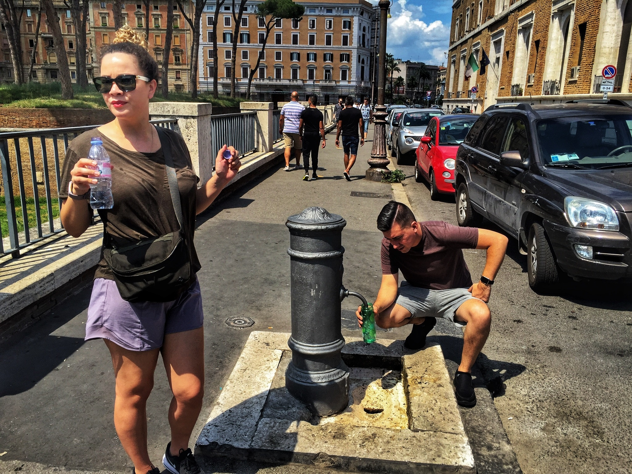 Tap water is good to drink in Rome and water fountains – founded on the aqueduct systems built by ancient Romans – provide refill opportunities for weary travelers.