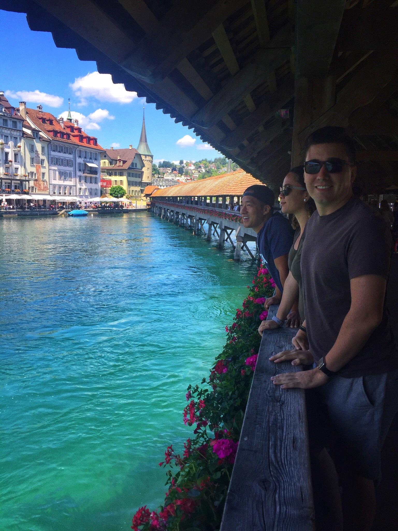 On a 15th century wooden bridge in Lucerne.