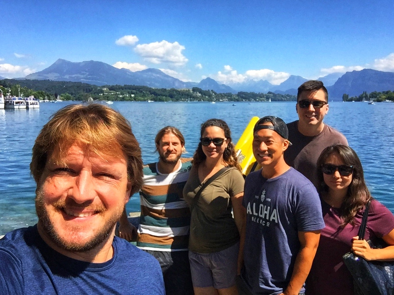 A group selfie by the lake!