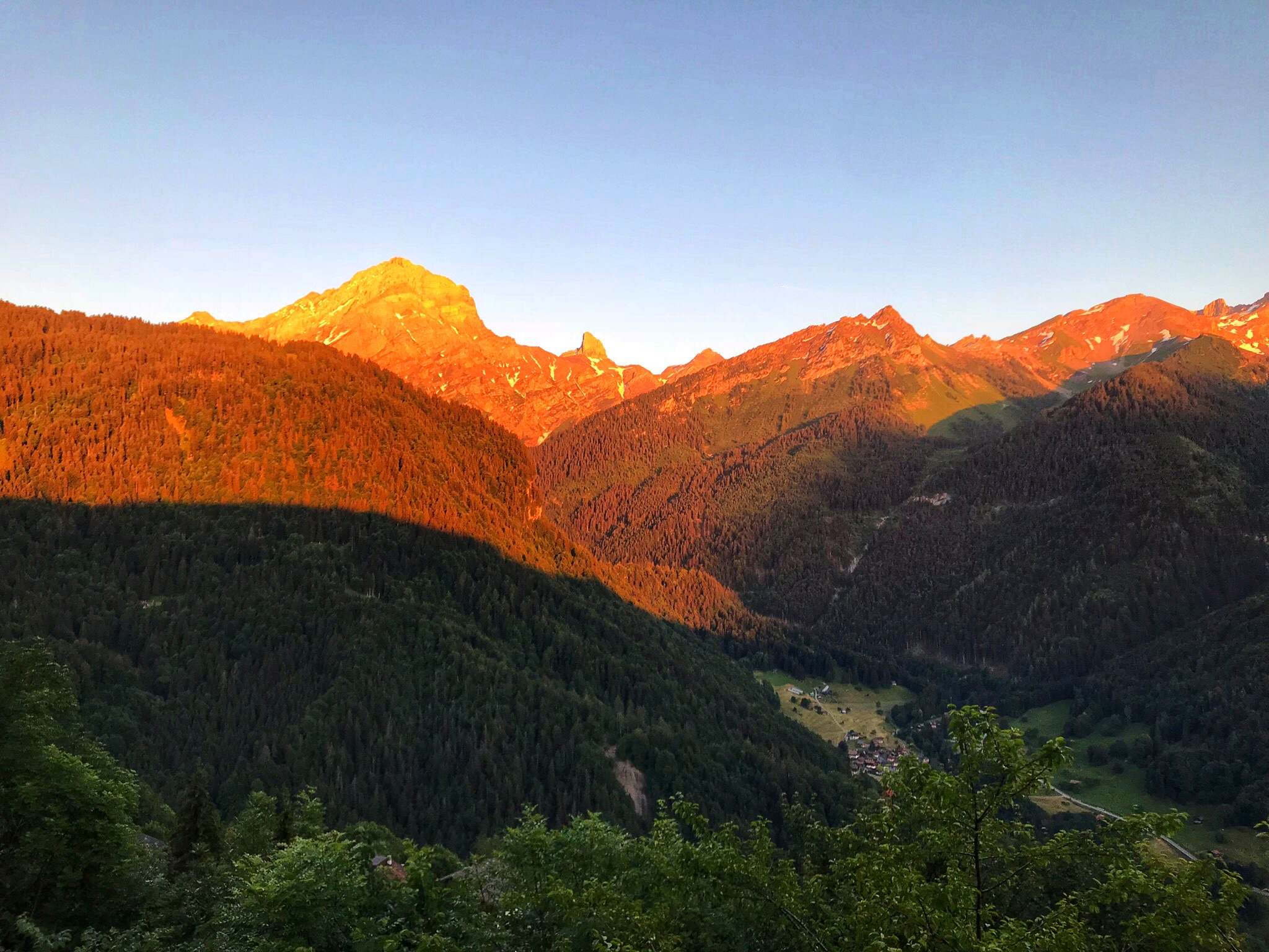 Sunset in the Swiss Alps as seen from Chalet Martin.