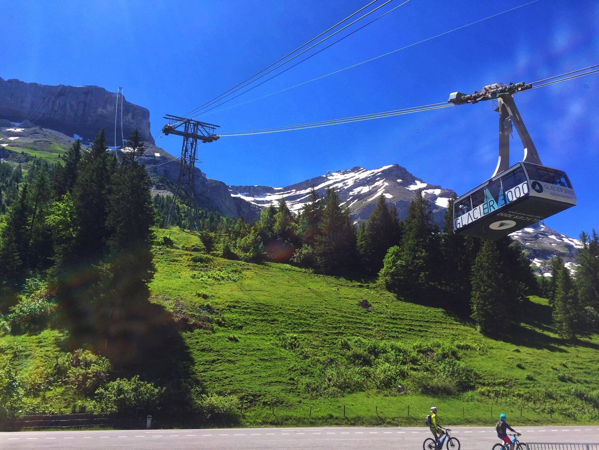 """The gondolas of the """"Glacier 3000"""" attraction."""