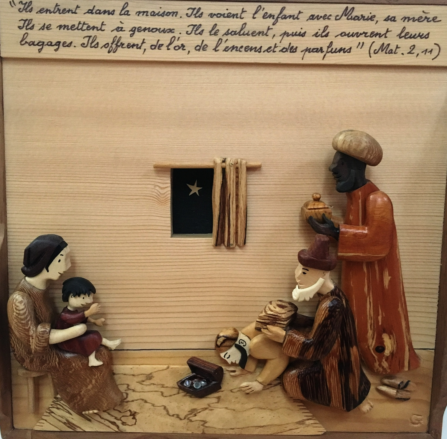 An intricate carved wood exhibit - turns it was based on frames from a French comic book about the life and death of Jesus!