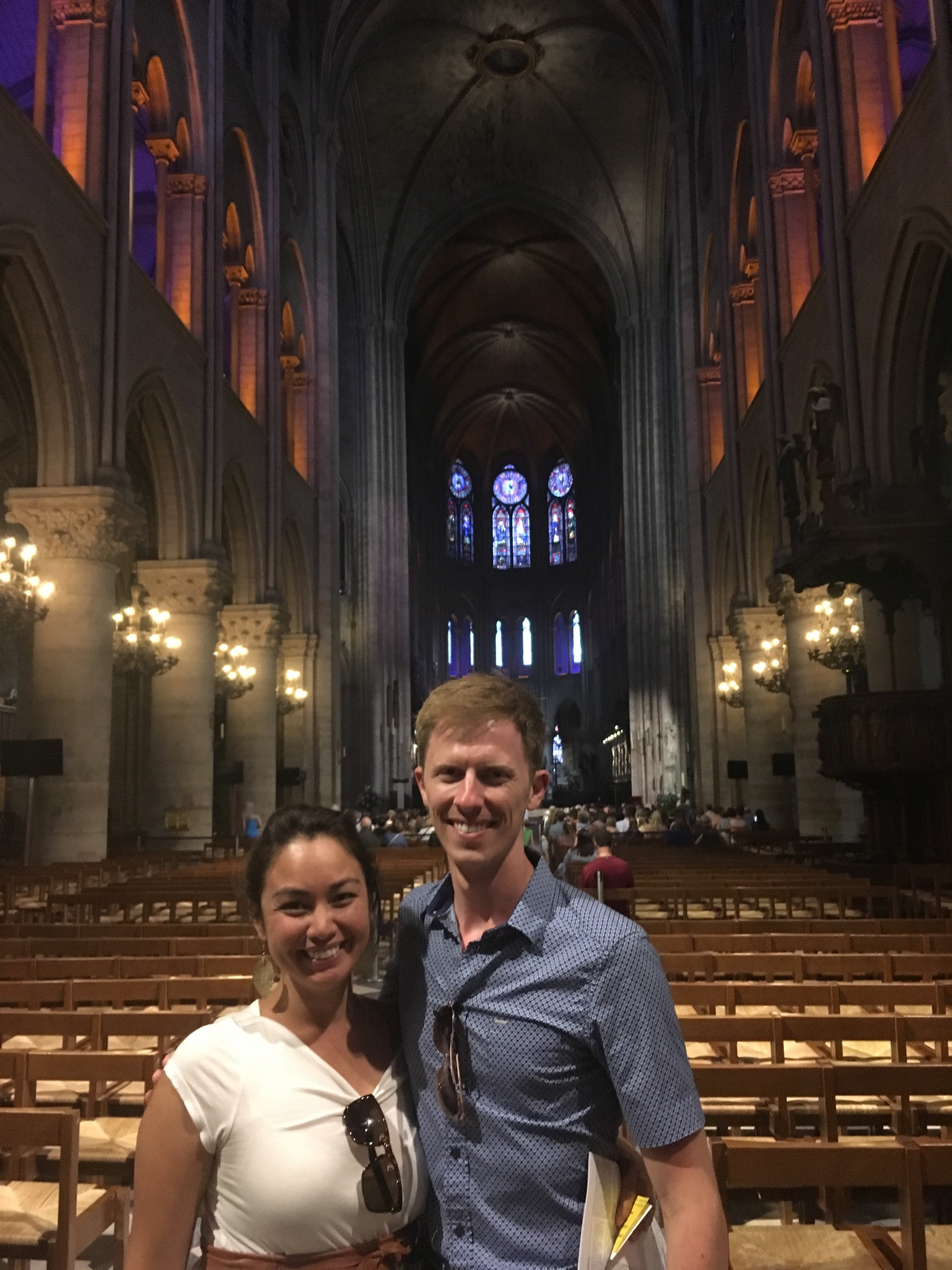 Scott posed with Naomi inside the cathedral.