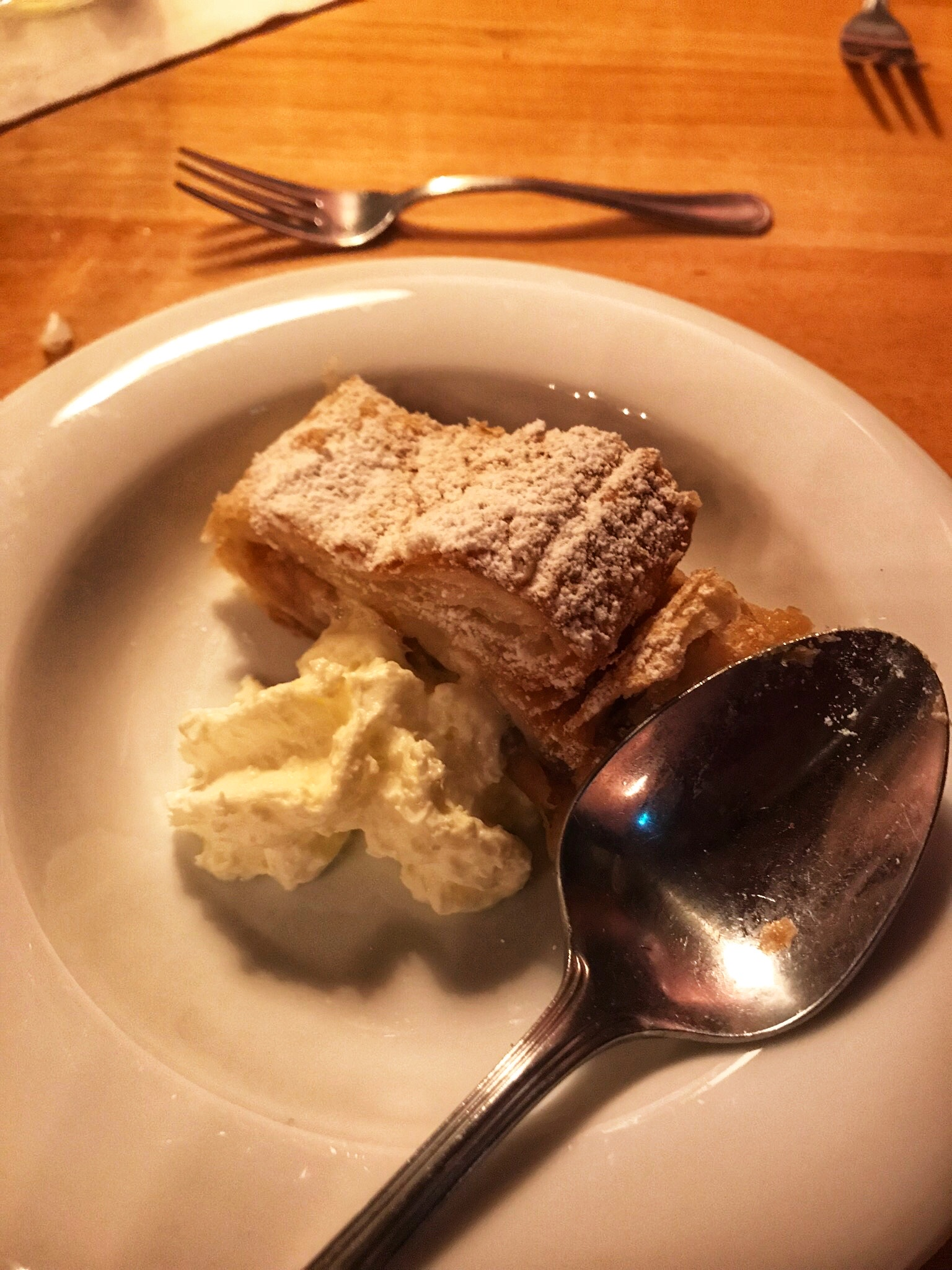Apfelstrudel with a dab of whipped cream!