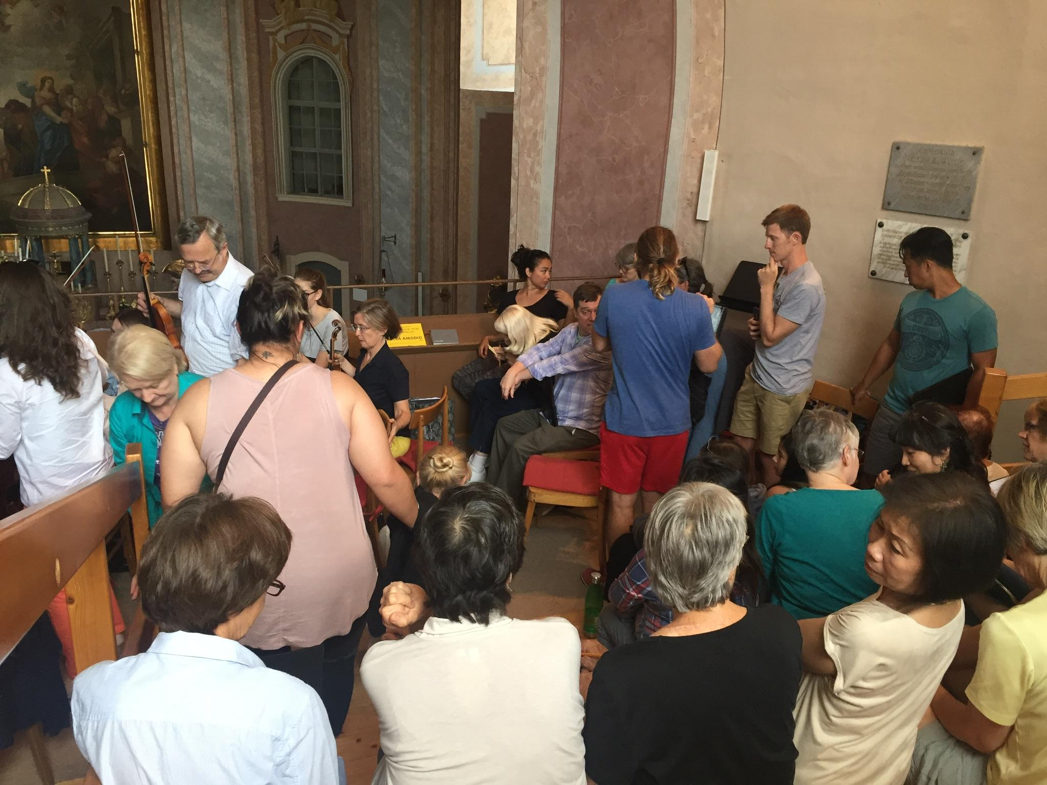 It was a bit crowded in the church's choir loft!