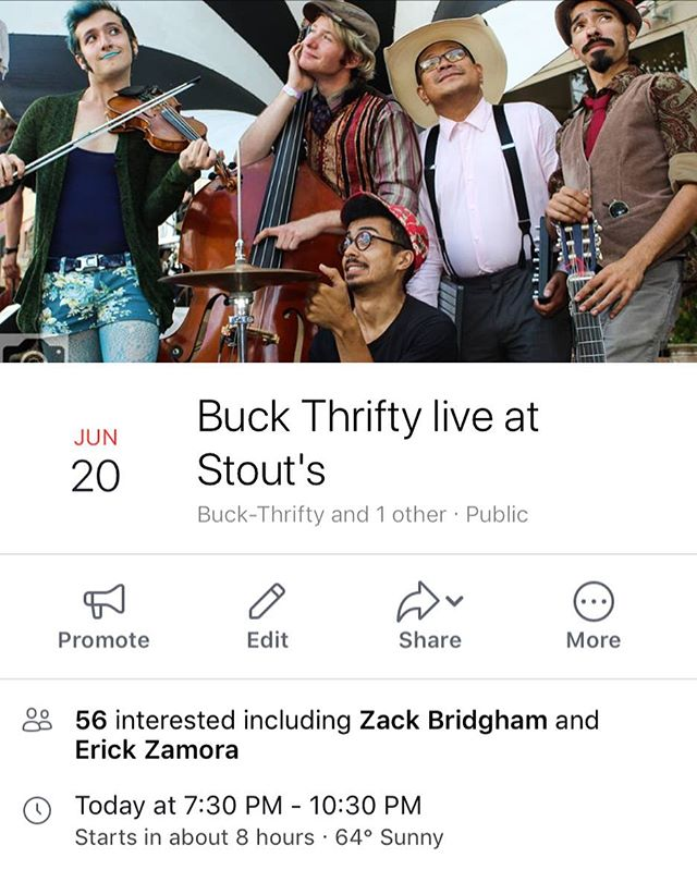 Stop by Stout's tonight at 7:30 for a live performance by Buck Thrifty! Call (707) 636-0240 for your pre show dinner reservations!