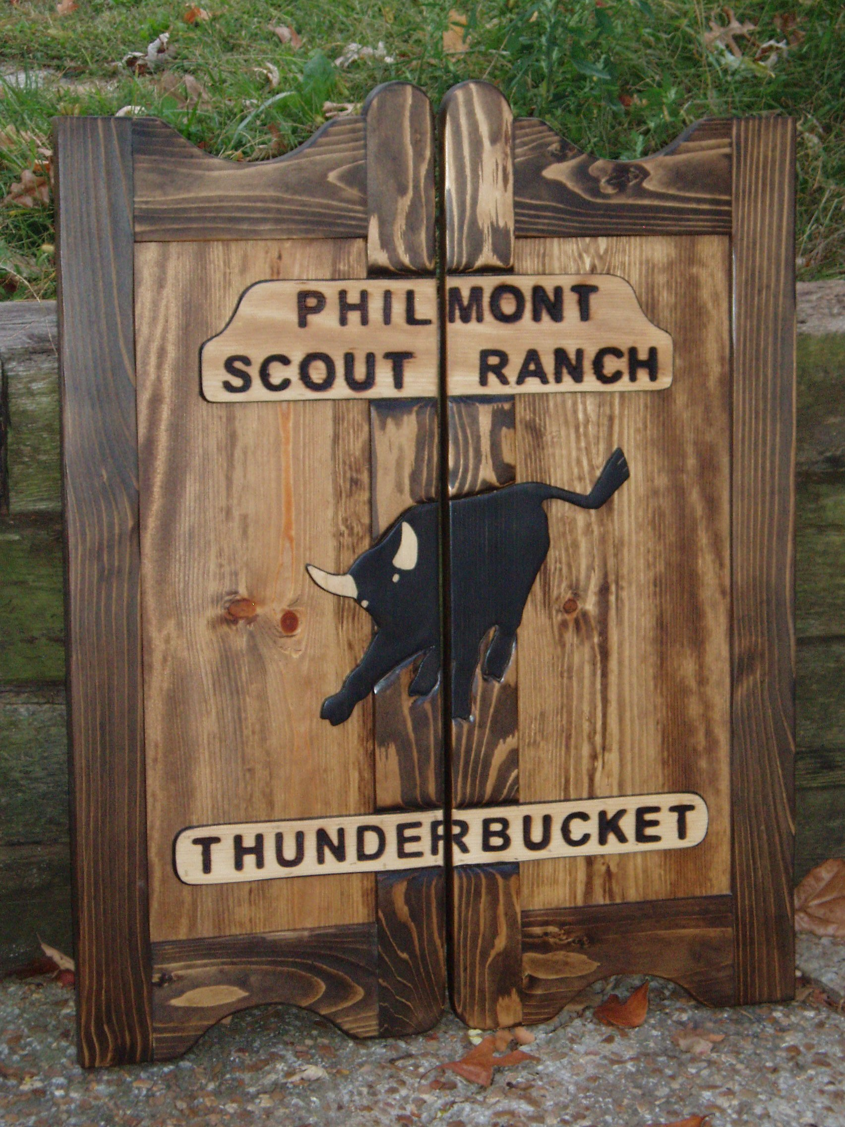 Philmont Scout Ranch western saloon doors with bull