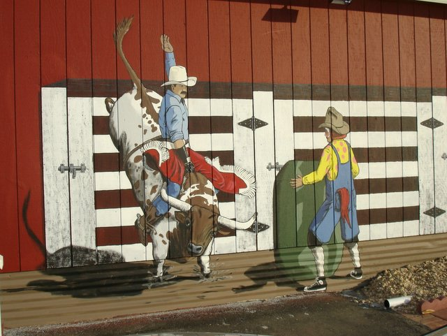 Western Mural Wagon Wheel Restaurant exterior Santee California 7B.jpg