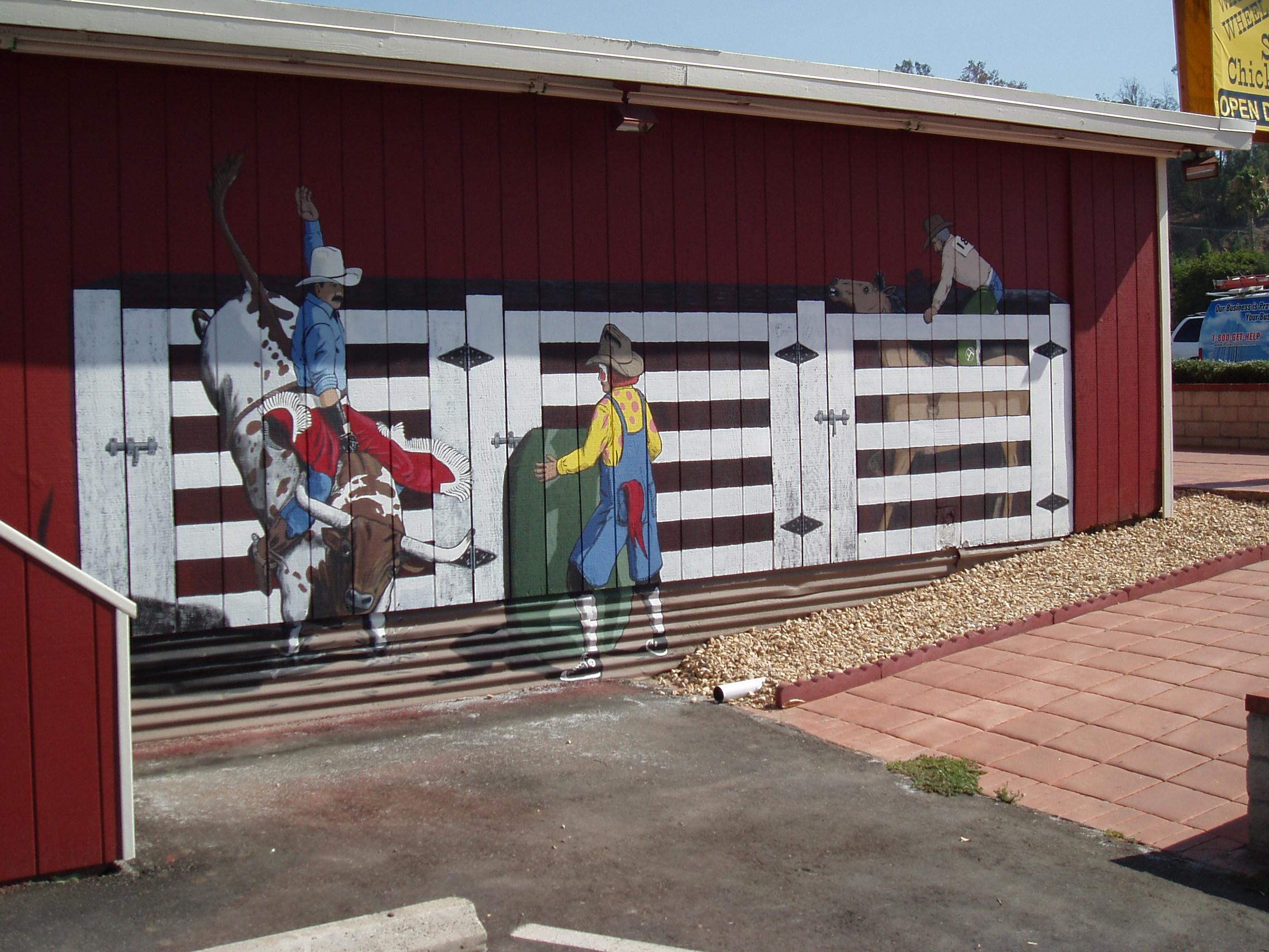 Western Mural Wagon Wheel Restaurant exterior Santee California 7.JPG