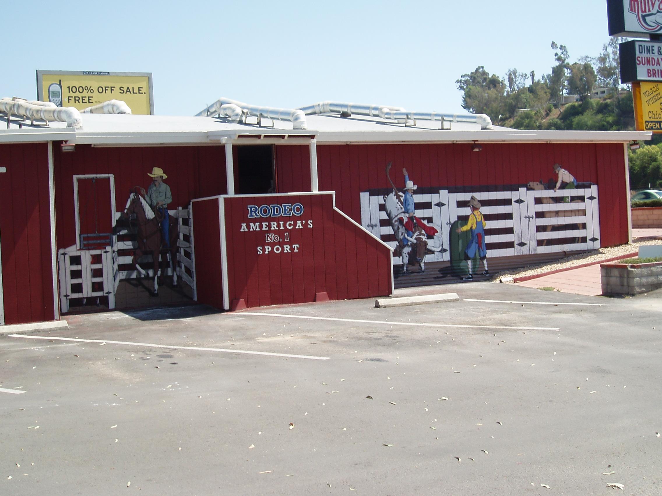 Western Mural Wagon Wheel Restaurant exterior Santee California 8.JPG