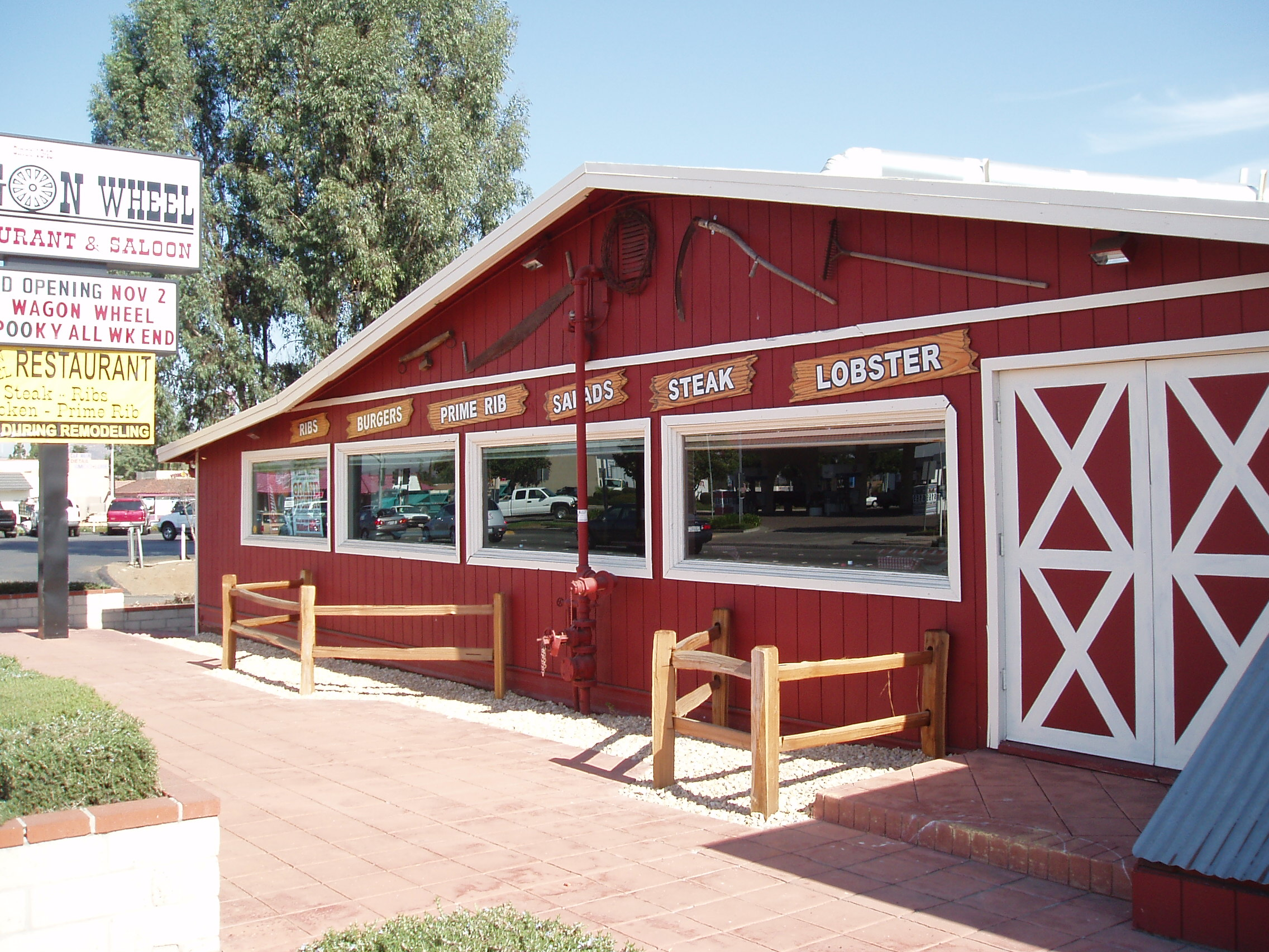 Western Mural Wagon Wheel Restaurant exterior Santee California 10.JPG