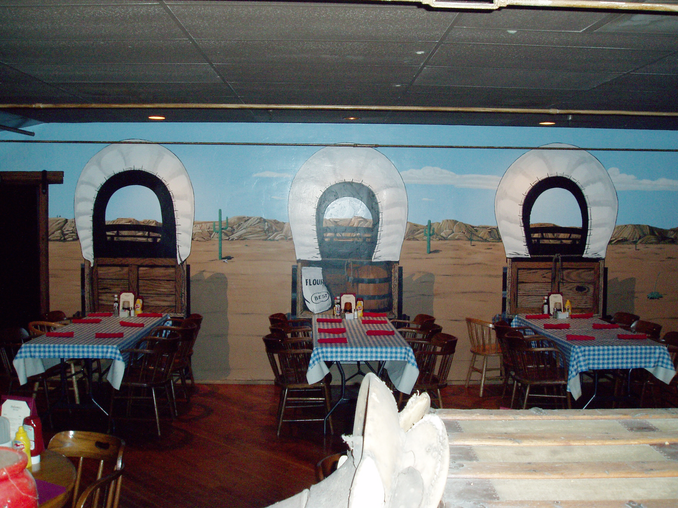 Western Woodwork & Mural Wagon Wheel Restaurant Interior Santee California 2.jpg
