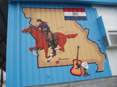 Pony express western mural in Branson, Missouri