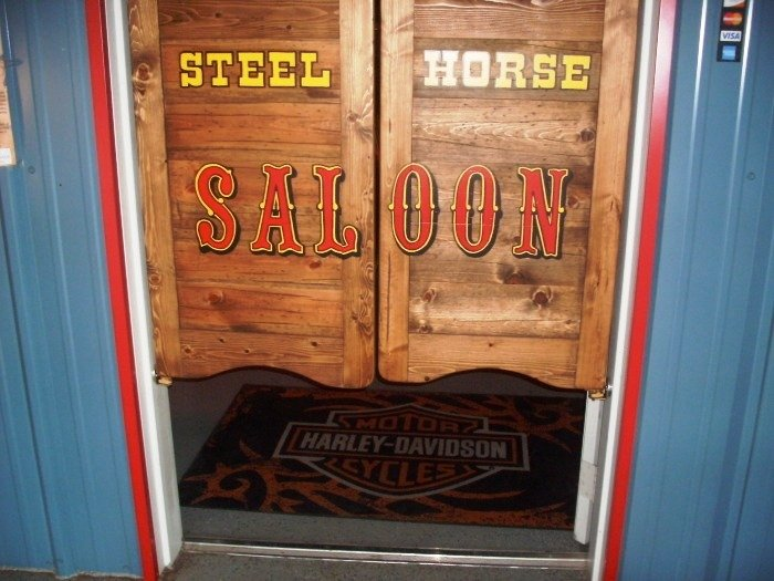 Steel Horse Saloon hand-painted western saloon doors