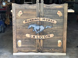Western Saloon Doors with Mustang and Dark Stain