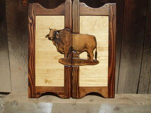 Western saloon doors with brahma bull