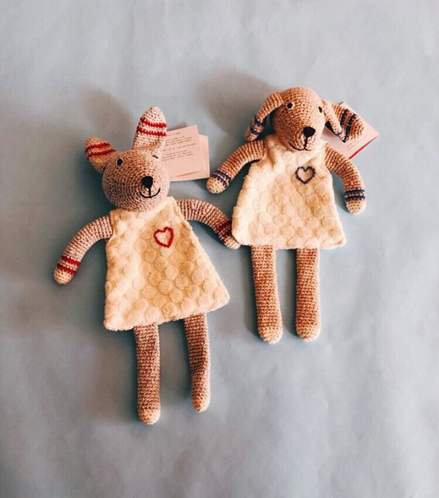 Need a new lovie to snuggle on this rainy day? These cuties are new in the shop. They're also a crinkle toy - a perfect sensory pal for baby.
