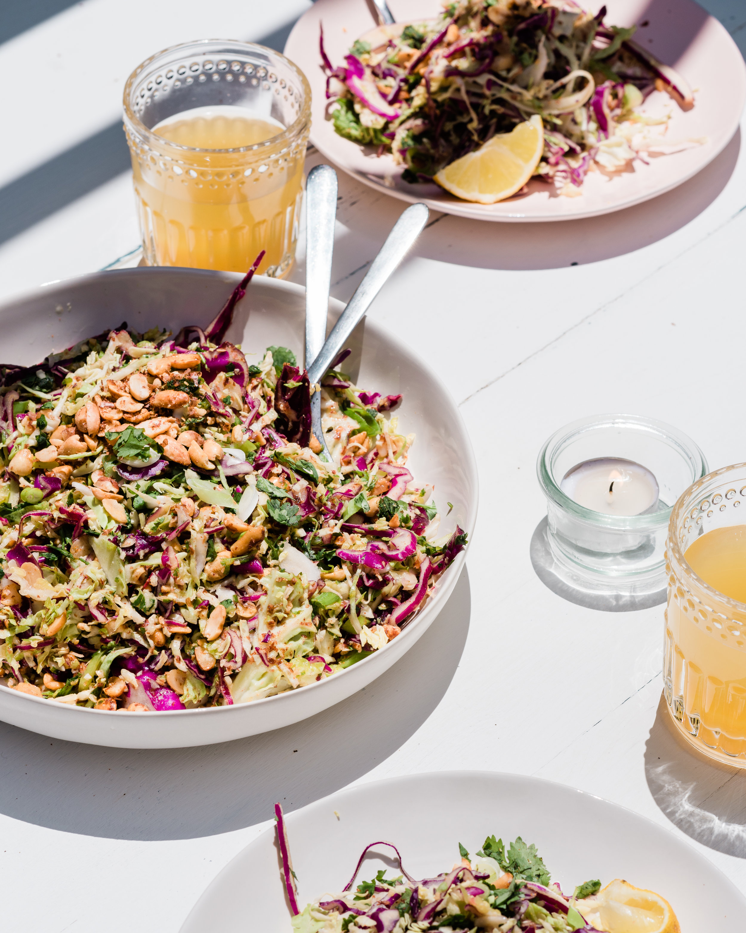 GRK Sprouted Peanut Lime Slaw with Red and Green Cabbage.