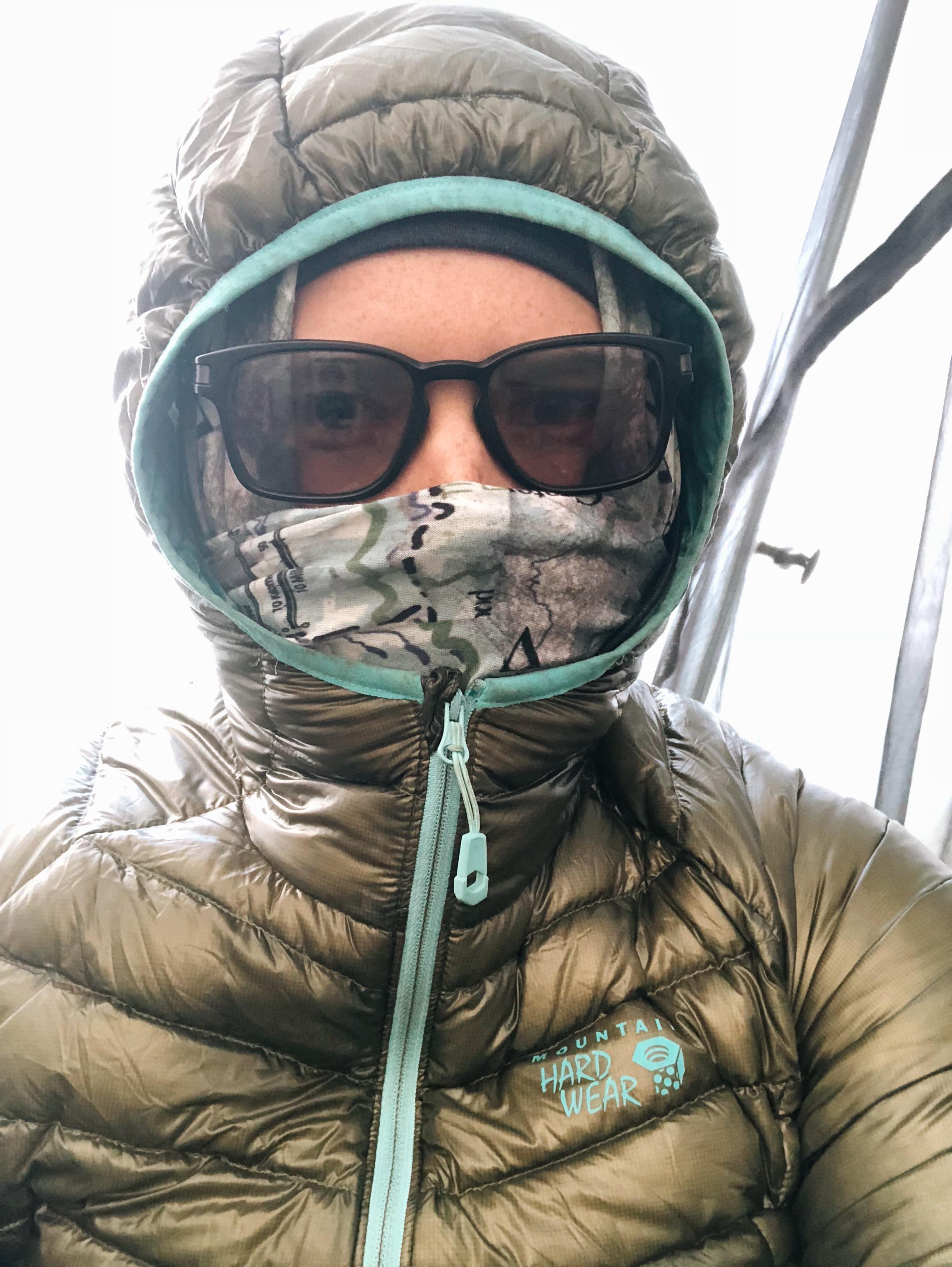 my beanie/ makeshift balaclava/ down jacket hood creation