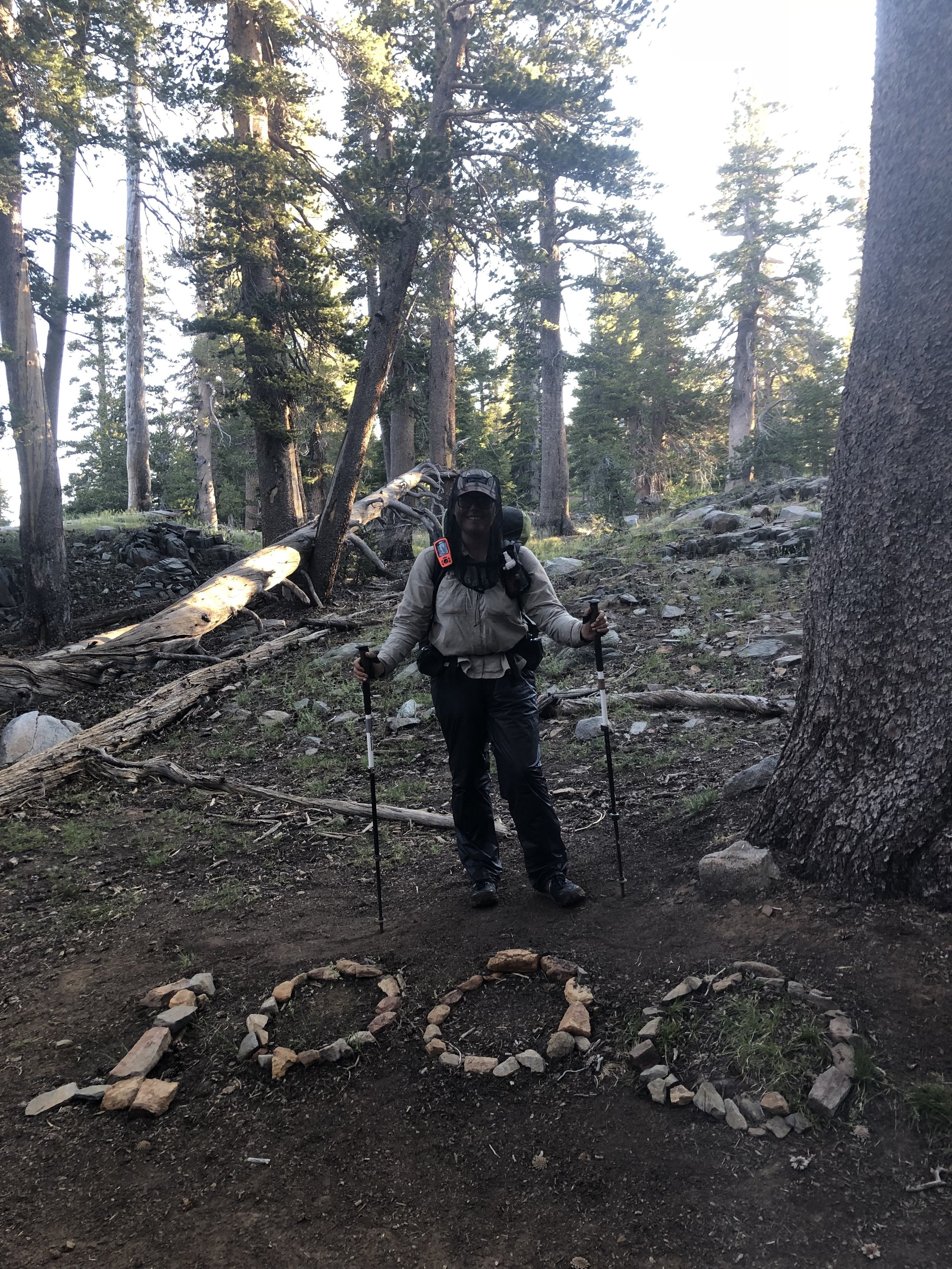 When bugs are terrible: Loose, long pants (wind pants here), long sleeves, and a headnet are helpful (Sierra)