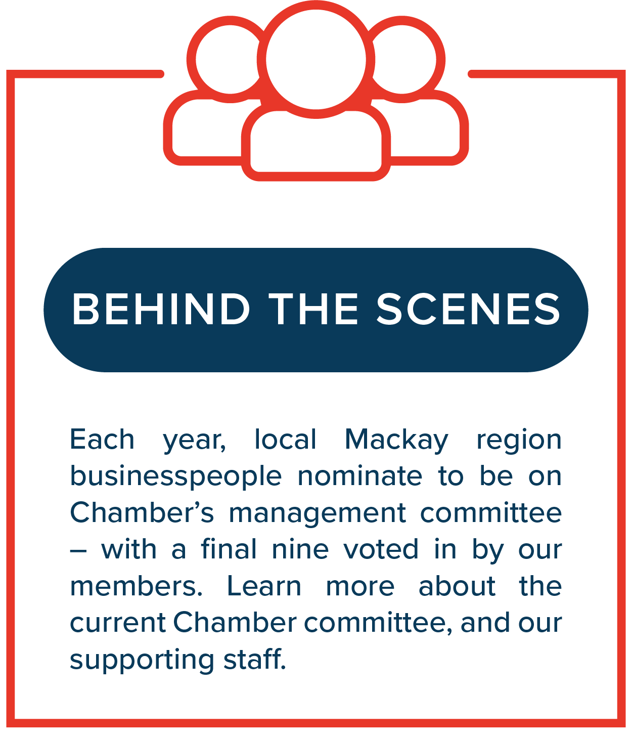 Behind the Scenes   Each year, local Mackay region businesspeople nominate to be on Chamber's management committee – with a final nine voted in by our members. Learn more about the current Chamber committee, and our supporting staff.