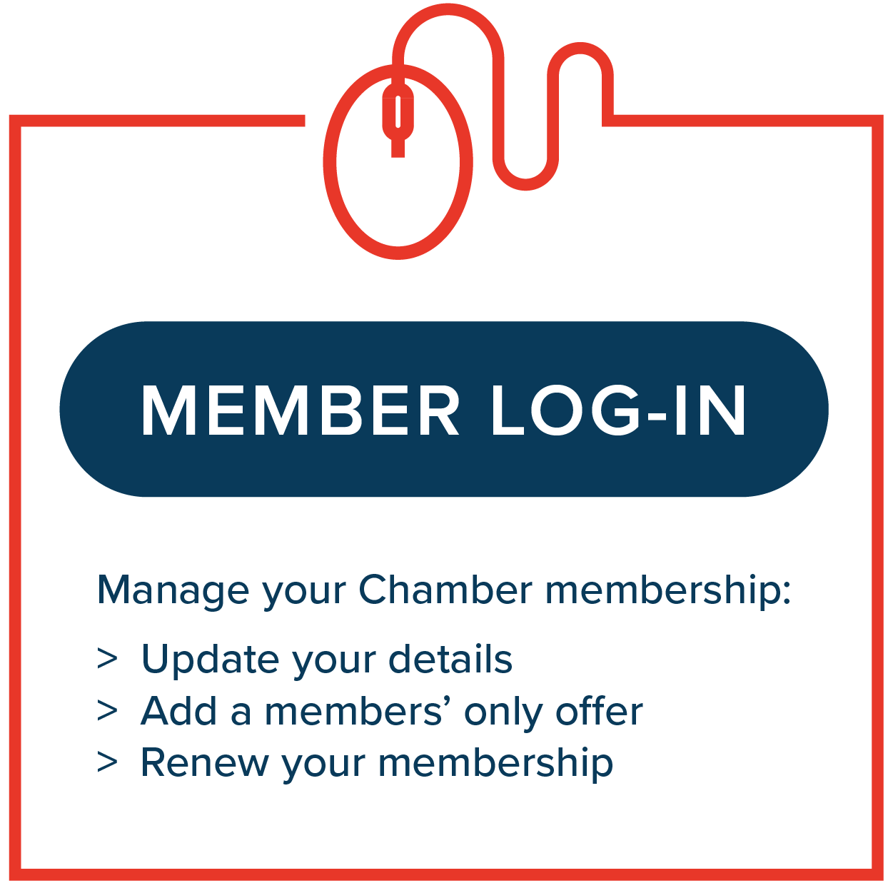 Manage your Chamber membership - update your details, add members' only offer, renew your membership