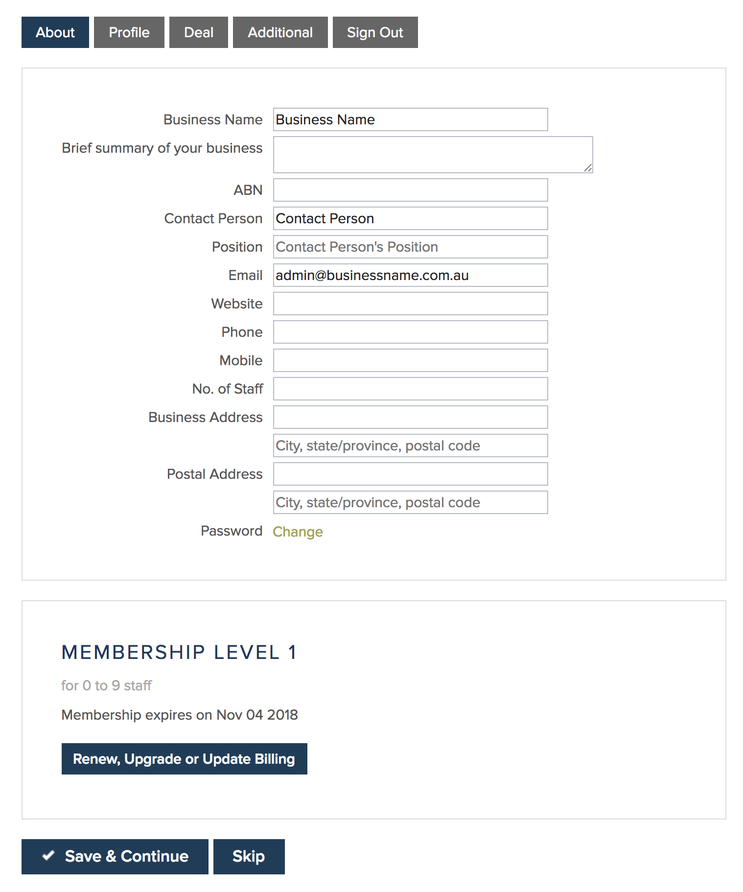 Member Profile - About Panel