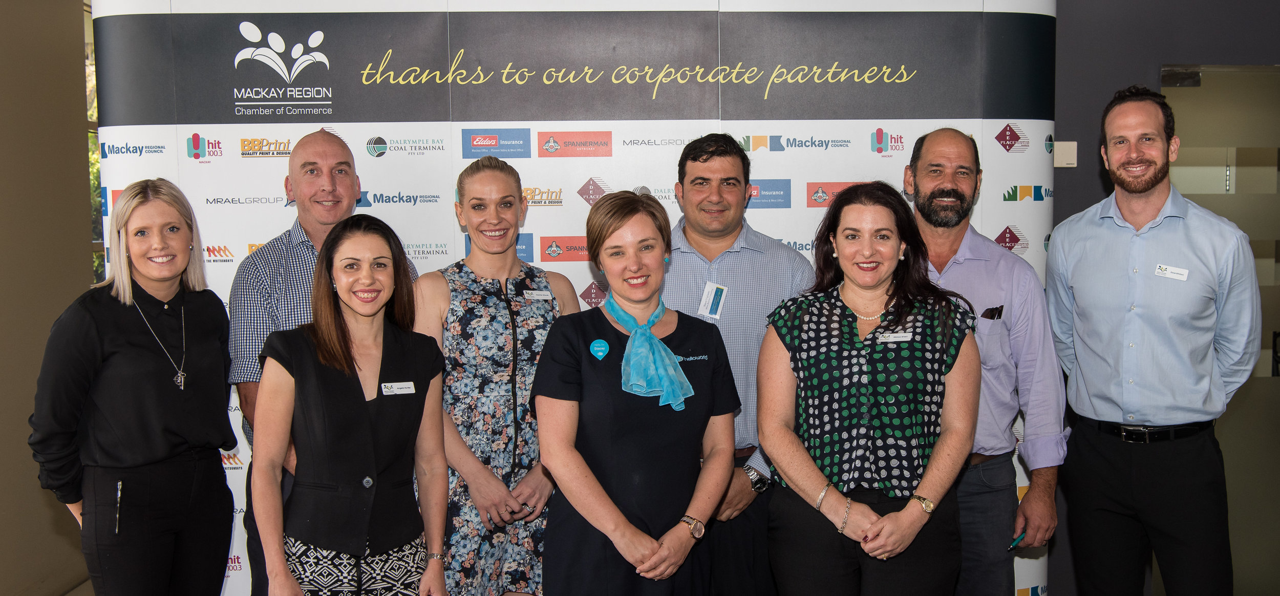 Mackay Region of Chamber's management committee for 2017/2018; Victoria Gracie (Opteon Property Group), Glenn Byron (National Australia Bank), Angela Hurley (McKays Solicitors), Heather Woods (Zoetic), Stacey Cole (helloworld Mt Pleasant), Simon Vigliante (Miles Dolphin Consulting), Melissa Green (BOQ Mackay City), Peter Jones-Trifelly (Frangipani Enterprises Pty Ltd) and Dave Whitson (Whitson Dawson).
