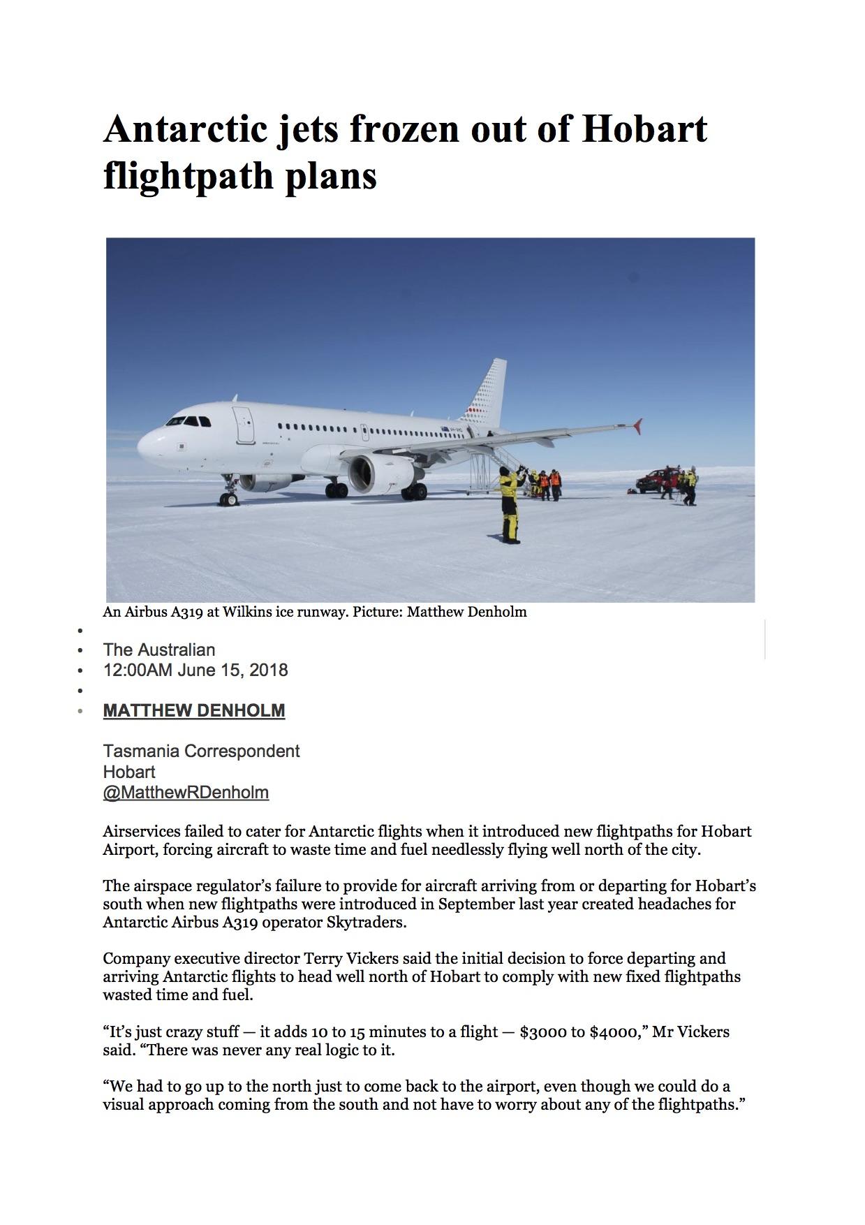 Antarctic jets frozen out of Hobart flightpath plans.jpg