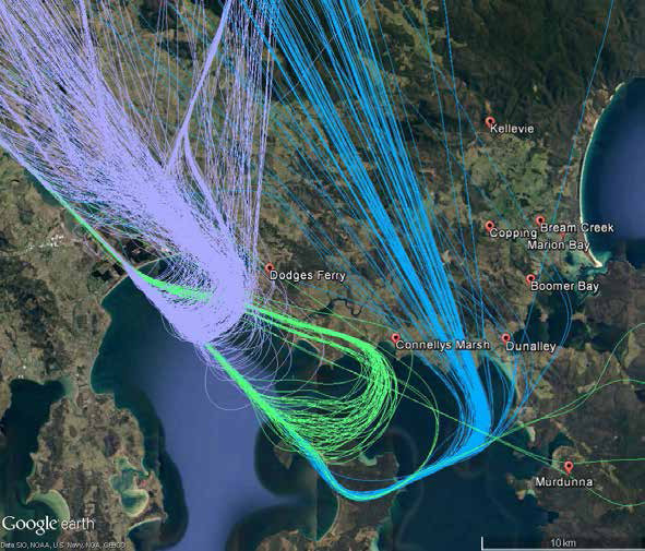 Example pre-September 2017 arrival spread - visual (purple), VOR (green), instrument (blue) navigation