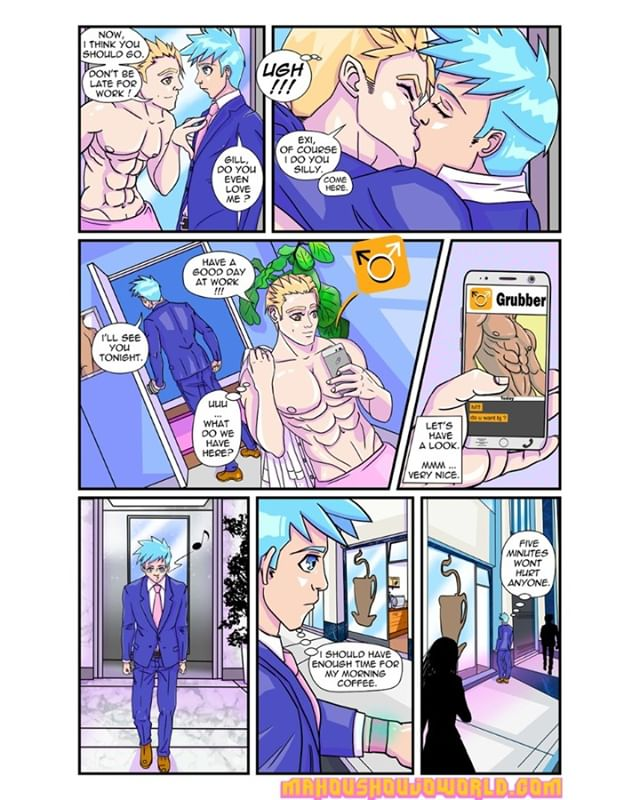 Mahou Shoujo World Page 3  It's all about interaction between our hero #Exi and his boyfriend. Looks like Exi's boyfriend is too eager to get rid of him so he can jump on dating app and hook up with some sexy guy. Poor Exi, all he want's it's to be loved and to feel content in his relationship. Have you ever been in similar situation? Unfortunately Exi is bit naive and doesn't have a clue what's going on. It makes you wonder, does his boyfriend even love him? Don't worry, Exi is a strong boy or he will be soon. His life will change and he will have to grow up quickly like all of us. For more #mahoushoujoworld pages please visit mahoushoujoworld.com. If you like Mahou Shoujo World Comics I have started Patreon page https://www.patreon.com/mahoushoujoworld, by subscribing and making small donation, you get awesome perks and you can help me keep creating Mahou Shoujo World Comics. Love you all :* . . . . . #indiecomics ,#gaycomics ,#comics