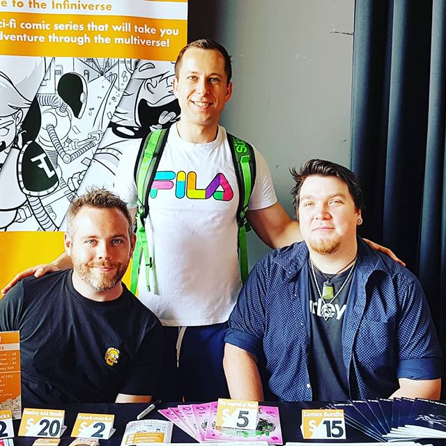 Another amazing meeting. I had the privilege to meet creators of a fantastic #monkeyjunkcomic that is a adventure comic. The artist @chrismcquinlanart and the writer @leighdamonpiper who were present at Indie Comic Con in Northcote, Australia. Thank you so much for taking your time and giving me all the advice. Thank you for helping me to believe that I can make it as a comic artist.