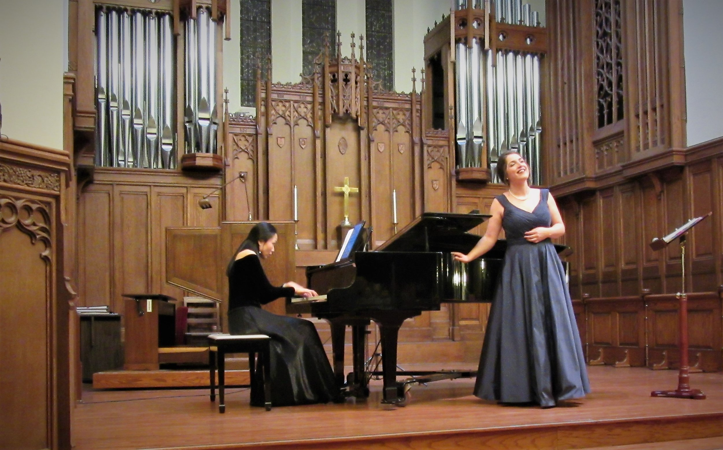 Pianist Liang-yu Wang and Ms. Worrell perform at the debut performance of  Raise Sounds of Joy!  in Macomb, Illinois.