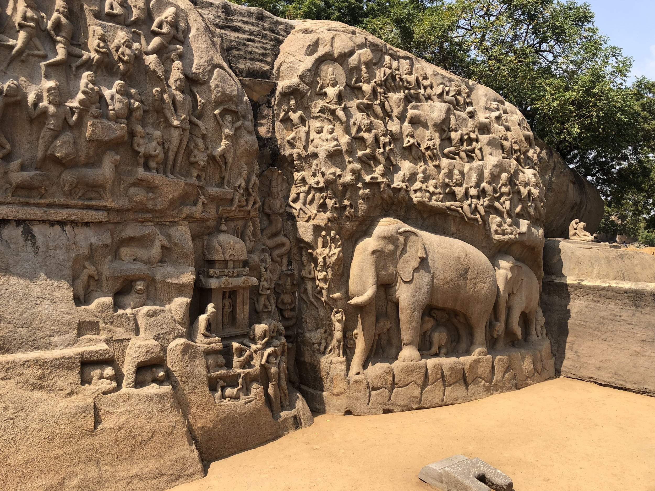 """Wall of stories: A section of """"The Descent of the Ganges"""" rock sculpture near Chennai, India."""