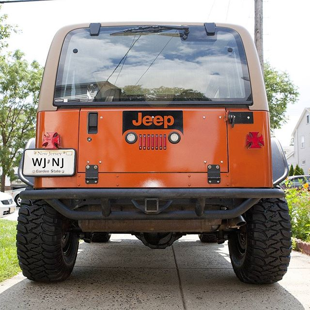 Jeep logo light cutout from tailgate for a cool photographer driving around somewhere in #NJ. #waterjet #waterjetnj #waterjetcut #jeep #omax